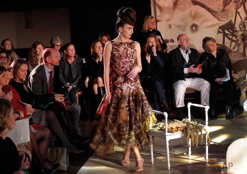 Models wear creations during Franck Sorbier's Spring-Summer 2017 Haute Couture fashion collection presented in Paris, Wednesday, Jan. 25, 2017. (AP Photo/Christophe Ena)