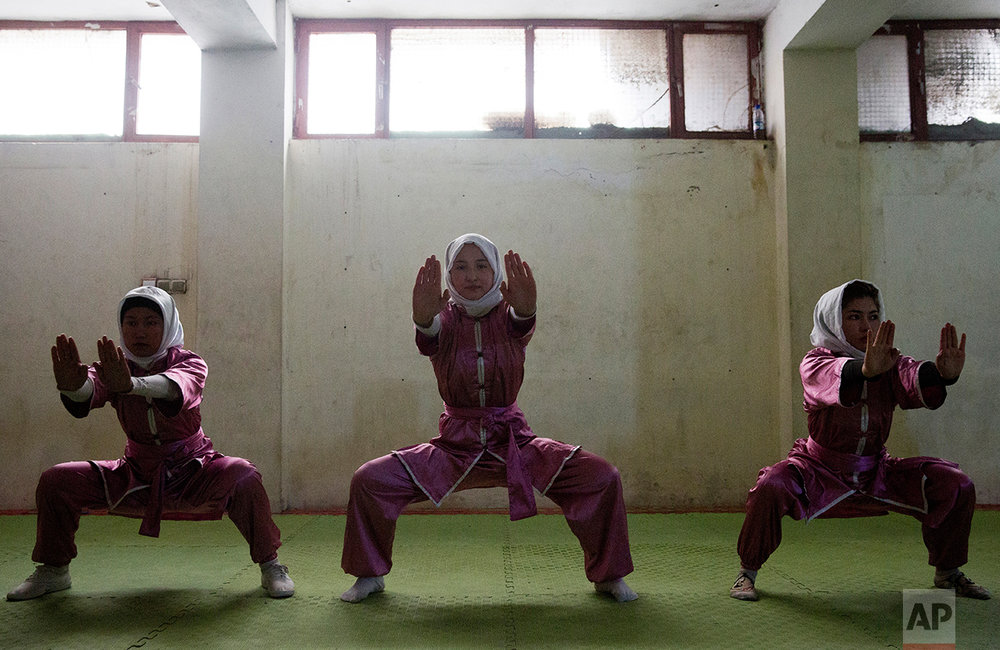 Shaolin martial arts students train at their club in Kabul, Afghanistan, Tuesday, Jan. 25, 2017. Most of the students are teenagers, while a few of the older students study in universities. The head trainer, Azimi charges between $2 and $5 a month depending on what they can afford. (AP Photos/Massoud Hossaini)