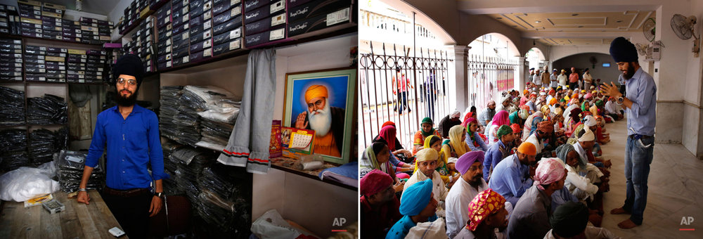 This two picture combo shows on left, Darshan Singh, 24, a garments store owner, poses for photos inside his store in New Delhi, India, on June 1, 2015, as on right, he sings religious prayers for devotees before the start of langar, or free community meal, at the Bangla Sahib Gurudwara or Sikh temple in New Delhi, India, on May 19, 2015. Service is one of the most integral traditions of gurudwaras. From cleaning to preparing tons of food every day there is plenty of work to be done. And there are plenty of sevadaars, or volunteers, to do it. While the gurudwara employs a small group of men to help manage the kitchen, it depends on visiting worshippers to contribute nearly half of all work and food supplies. (AP Photo/Manish Swarup)