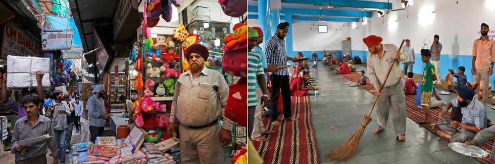 This two picture combo shows on left, Harinder Singh, 62, a business man who owns a shop in Sadar Bazar, poses for a photographs outside his shop, in New Delhi, India, on  June 16, 2015, as on right, he cleans the langar area with a broom at the Majnu-ka-Tila Gurudwara or Sikh temple, in New Delhi, India, on June 14, 2015. The langar, which translates to community meal, started by Guru Nanak, founder of Sikhism in late 15th century, a place where people from different cast and creed come under one roof to eat and serve. It is now a tradition followed by more than 30 million Sikhs worldwide. Nearly every Gurdwara in the world, irrespective of size, has a kitchen and serves lanagar. (AP Photo/Manish Swarup)