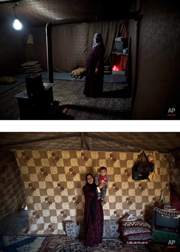 This combination of two images taken between Tuesday, March 17, 2015, top, and Thursday, Aug. 13, 2015, shows Syrian refugee Mahdiya Alkhalid, 36, posing for a picture while being pregnant, and after giving birth to her child, at an informal tented settlement near the Syrian border, on the outskirts of Mafraq, Jordan. ìWe are the ones who live outside of the registered camps with miserable conditions,î Alkhalid says. ìMy husband has no work. All we want is people to help us and pay us some attention.î (AP Photo/Muhammed Muheisen)