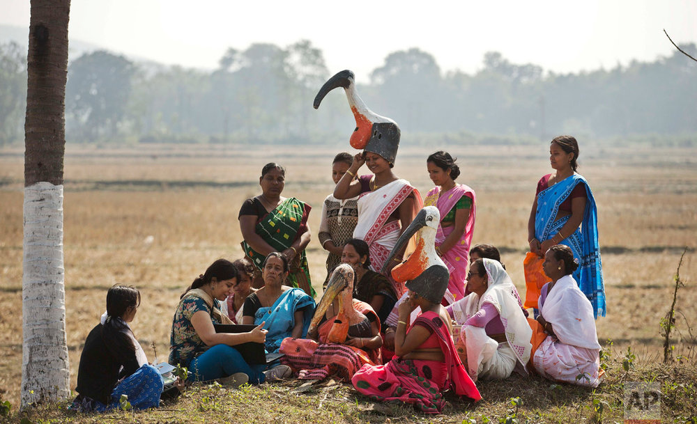 "In this Feb. 4, 2017, photo, wildlife biologist Purnima Devi Barman, second left, who works with a local conservation group called Aranyak, shows photographs of storks to a group of women from the ""hargila army,"" during an awareness meeting to save the bird, in Dadara village, west of Gauhati, India. For decades the big and awkward looking carnivore and scavenging bird was the object of revulsion in its home in northeast India until a group of women took it upon themselves to save the endangered bird. Women from the hargila army, for the bird's name in the local Assamese language, pray, sing hymns, weave scarves and other items on their handlooms with the motifs of the bird, to create awareness about the need to protect the species. (AP Photo/Anupam Nath)"