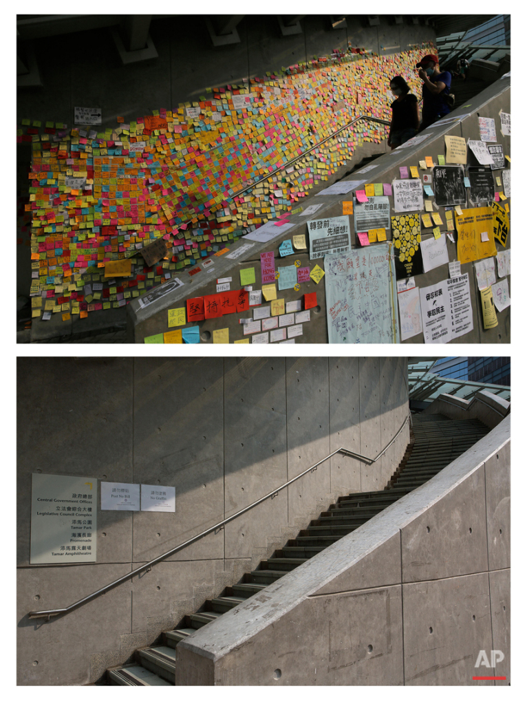 This combination of Oct. 3, 2014 file, top, and Sept. 26, 2015 photos shows pro-democracy student protesters walking near messages left on a wall of the government complex during the Umbrella Movement in Hong Kong, and the same wall after almost one year.  (AP Photo/Vincent Yu, File)