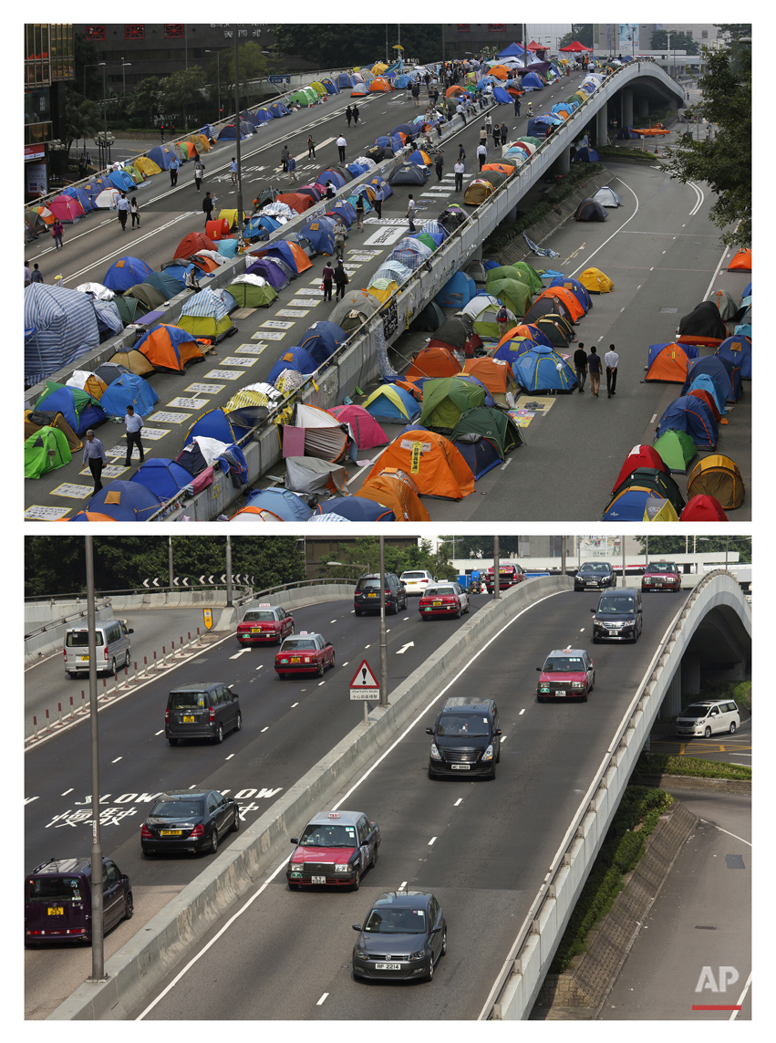 This combination of Nov. 11, 2014 file, top, and Sept. 26, 2015 photos shows tents set up by pro-democracy protesters as they occupy the area outside the government headquarters in Hong Kong's Admiralty district during the Umbrella Movement in Hong Kong and a normal traffic at the same place almost a year later.  (AP Photo/Vincent Yu, File)