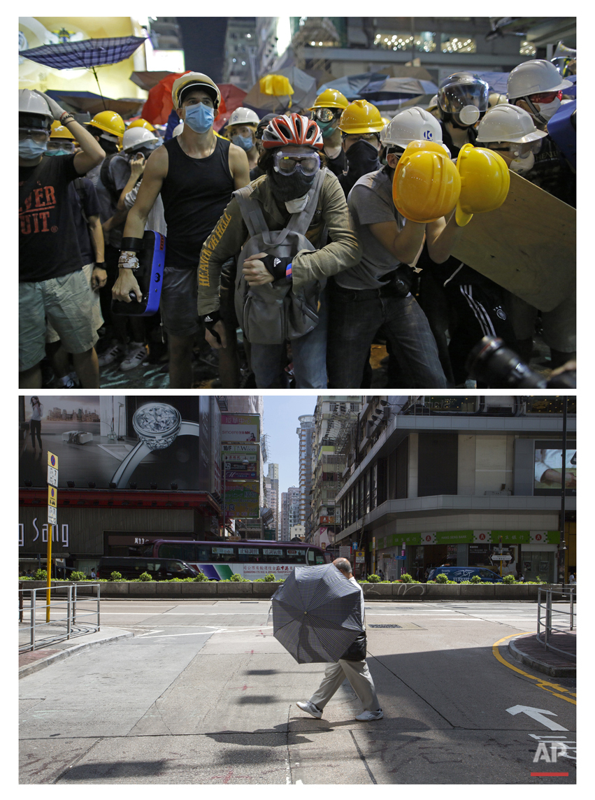This combination of Nov. 25, 2014 file, top, and Sept. 25, 2015 photos shows protesters getting ready to push against policemen in their attempt to occupy the area in Mong Kok district during the Umbrella Movement in Hong Kong, and a man with an umbrella walking past the same area. (AP Photo/Vincent Yu, File)