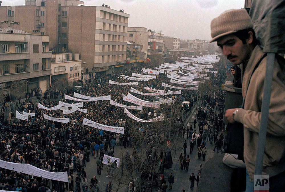 View of a massive demonstration against the Shah of Iran in downtown Tehran, Iran, Oct. 9, 1978. (AP Photo/Michel Lipchitz)