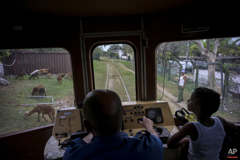 In this Aug. 26, 2015 photo, a boy rides next to the engineer of an electric Hershey train in the Casablanca municipality of Havana, Cuba. The conductor slowed the train down to avoid hitting a shepherd's flock of goats grazing along the tracks. (AP Photo/Ramon Espinosa)