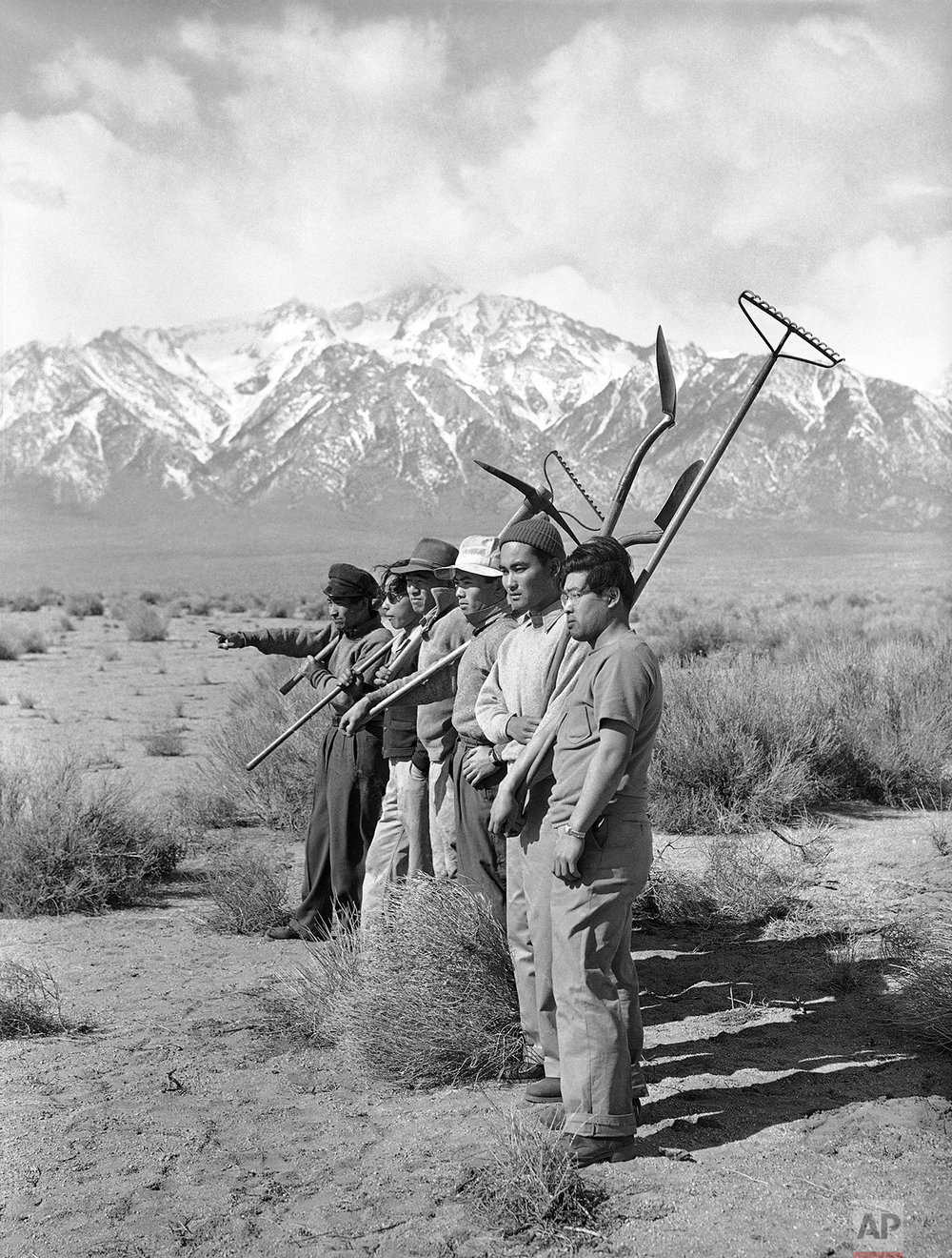 Japanese are making themselves comfortable in their barrack-like surroundings. They are helping the construction of building and planning farms for the future. A group surveys the lands in hope of starting a garden  March 27, 1942. (AP Photo)
