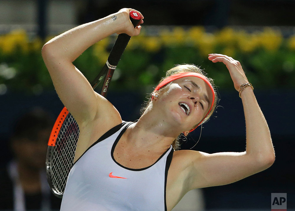 Elina Svitolina of Ukraine reacts in a final match against Caroline Wozniacki of Denmark during the Dubai Tennis Championships in Dubai, United Arab Emirates, Saturday, Feb. 25, 2017. Svitolina defeated Wozniacki 6-4, 6-2.  (AP Photo/Kamran Jebreili)