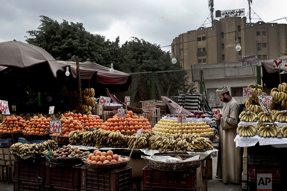 A fruit vendor checks an apple as he waits for customers in the Sayeda Zeinab neighborhood of Cairo, Egypt on Feb. 14, 2017. Egyptians are cutting spending and trying to make it through the country's worst inflation in a decade under President Abdel-Fattah el-Sissi's economic reforms. With inflation now nearing 30 percent _ and little public space for discontent _ they're finding they can do little else but bear down and hope the promised benefits of reform eventually come. (AP Photo/Nariman El-Mofty)