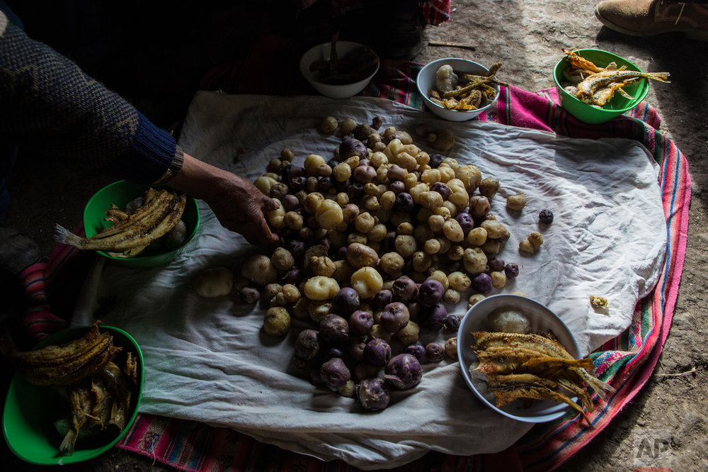 In this Feb. 3, 2017 photo, the Avila family sets their lunch of potatoes and fish on the floor of their home in Coata, a small village on the shore of Lake Titicaca, in the Puno region of Peru. Maruja Inquilla, a local environmental activist, has been visiting villagers to alert them of the dangers lurking in their food and water, in connection with contamination in the Lake Titicaca. (AP Photo/Rodrigo Abd)