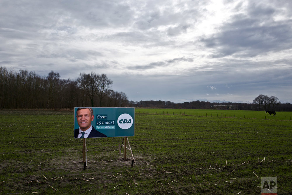 "In this Saturday, March 4, 2017 photo, an election banner showing Sybrand Buma, from the Christian Democratic Appeal party, CDA, is displayed in a field in Putten, Netherlands. March 15 marks the general election in the Netherlands. Banner reads in Dutch ""Vote on the 15th of March"". (AP Photo/Muhammed Muheisen)"