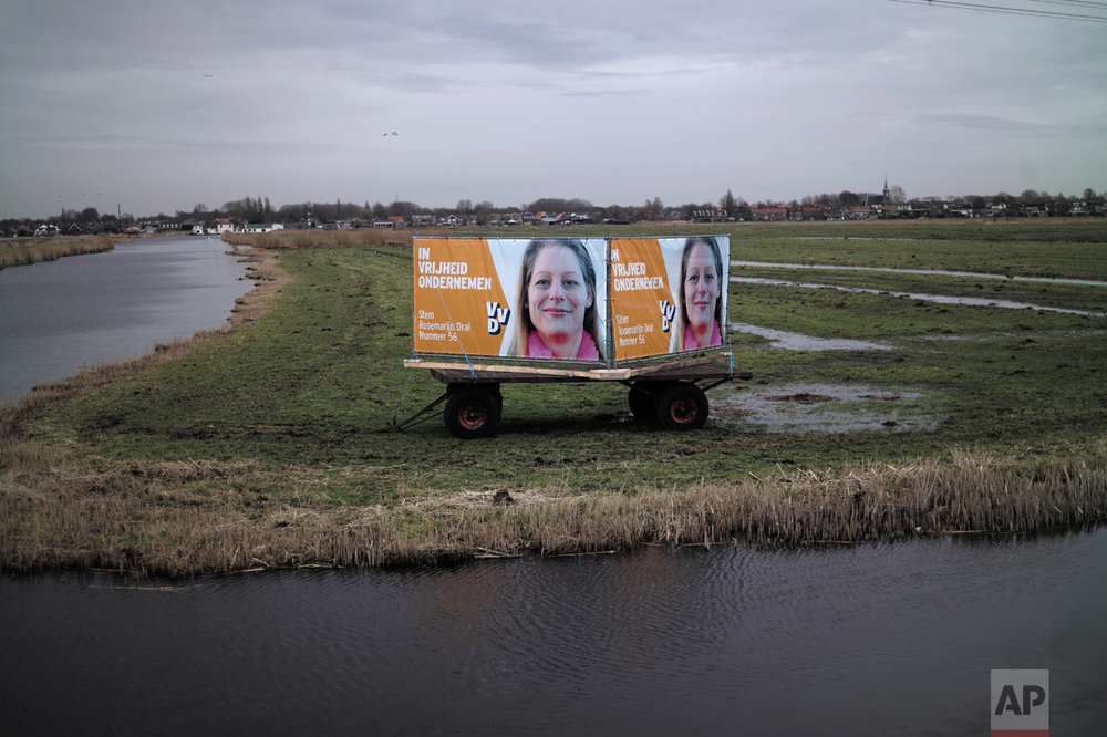 In this Friday, March 3, 2017 photo, an election banner showing Rosemarijn Dral, from the People's Party for Freedom and Democracy, VVD, is displayed in a field in Zaandam, Netherlands. March 15 marks the general election in the Netherlands. (AP Photo/Muhammed Muheisen)