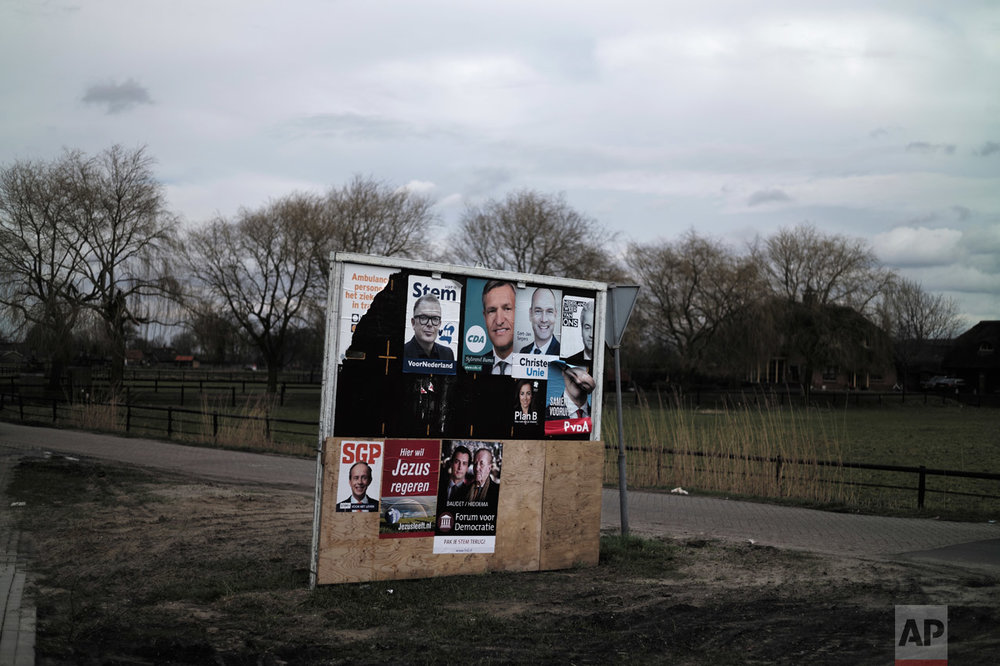 In this Saturday, March 4, 2017 photo, an election billboard with posters of various political parties is displayed in a street median in Putten, Netherlands. March 15 marks the general election in the Netherlands. (AP Photo/Muhammed Muheisen)