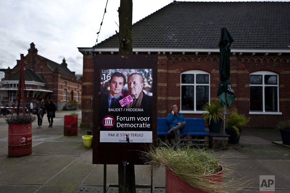 In this Sunday, March 5, 2017 photo, a damaged election poster showing, left, Thierry Baudet and Theo Hiddema, from the Forum for Democracy party, FVD, is displayed in a park in Amsterdam, Netherlands. March 15 marks the general election in the Netherlands. (AP Photo/Muhammed Muheisen)