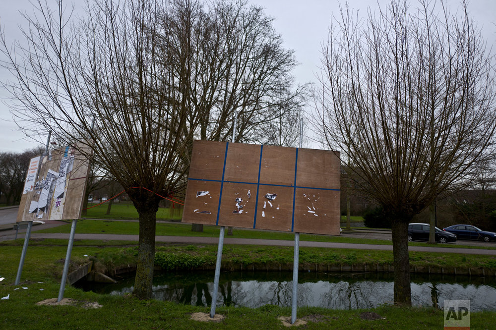 In this Friday, March 3, 2017 photo, an election billboard with torn posters that read partly Geert, referring to Geert Wilders leader of Party for Freedom, PVV, is displayed on a roadside in Volendam, Netherlands. March 15 marks the general election in the Netherlands. (AP Photo/Muhammed Muheisen)
