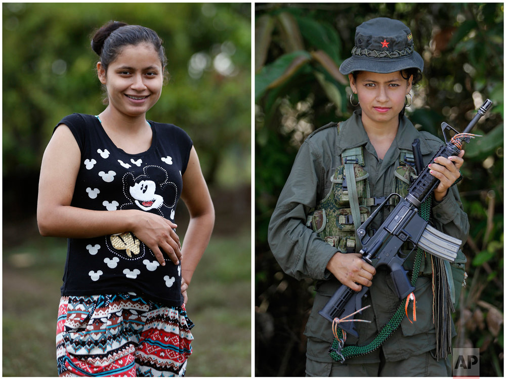 This combo of two photos of FARC rebel Mayerly Munoz shows her 32-weeks pregnant on Feb. 28, 2017 at a FARC camp inside a demobilization zone in La Carmelita in Colombia's Putumayo state, left, next to a photo of her taken last year on Aug. 16, 2016 at a jungle camp in the same area. Among the 7,000 guerrillas gathered at the demobilization zones across the country, 114 women are pregnant and 77 babies have been born recently, according to the government. (AP Photo/Fernando Vergara)