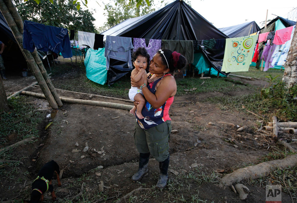 In this Tuesday, Feb. 28, 2017 photo, FARC rebel Sandra Saez holds her 4-month-old daughter Manuela outside her tent at a rebel camp in a demobilization zone in La Carmelita, in Colombia's southwestern Putumayo state. Maternity was always a hot topic of discussion within the rebel ranks, and the practice of forbidding female fighters from keeping their children at the camps flew in the face of the rebels' claim that by enrolling female warriors they were freeing women from traditional gender roles that restricted women's choices, and it angered many in this devoutly Roman Catholic country. (AP Photo/Fernando Vergara)