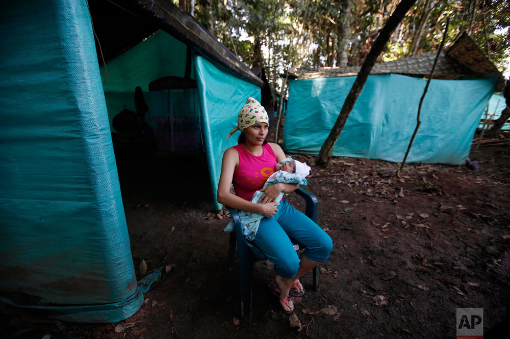 In this Tuesday, Feb. 28, 2017 photo, FARC rebel Marly Velasquez holds her 18-day-old-daughter Andry Talia during an interview outside her tent at a demobilization zone in La Carmelita in the Colombia's southwestern state of Putumayo. During times of war, constant confrontation with army soldiers and guard duties in jungle camps made raising children during the conflict difficult, if not impossible. Women were given steady supplies of contraceptives, and those who did get pregnant were presented with two options: leave the baby with the family members or end the pregnancy. (AP Photo/Fernando Vergara)