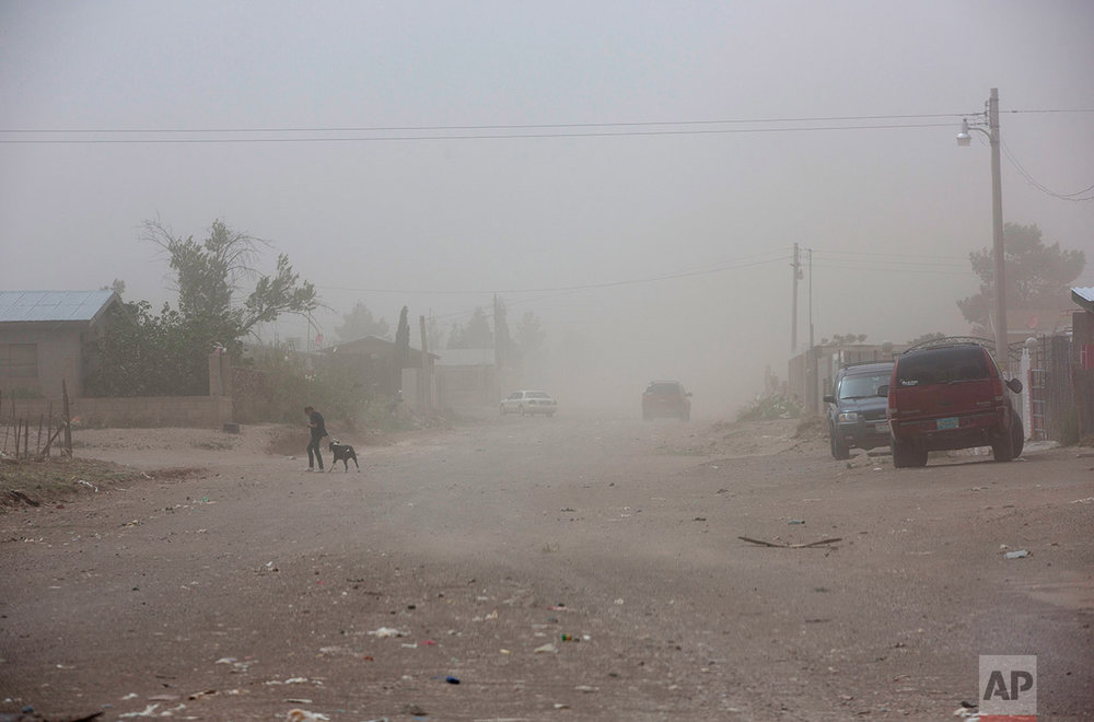 A woman walks with a dog during a dust storm in Palomas, Mexico, Friday, March 31, 2017. (AP Photo/Rodrigo Abd)