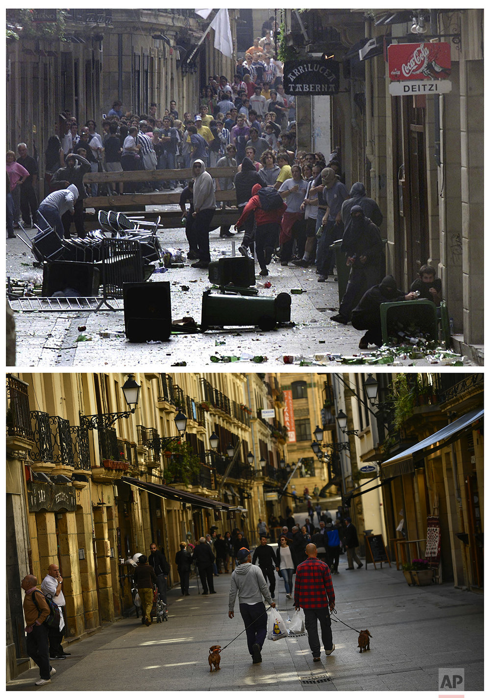 In this two photo combo, masked pro-independence followers of the Basque armed separatist group ETA, prepare to fight against the police during an illegal rally in San Sebastian, northern Spain, on Oct. 26, 2003, top, and people going for a walk in the same street of the old city on April 3, 2017. (AP Photo/Alvaro Barrientos)