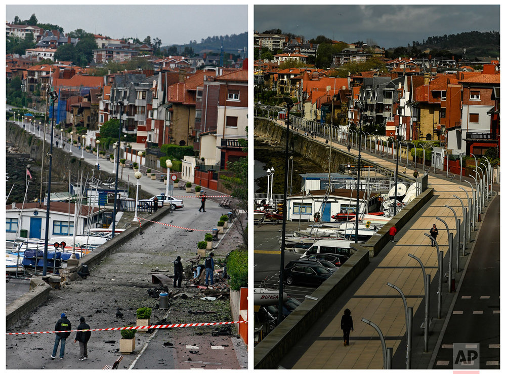 In this two photo combo, police officers search the scene by the Nautical Promenade where a car bomb exploded, after a warning call from the Basque separatist group ETA in the small Basque town of Gexto, northern Spain, on May 19, 2008, left, and people walking along the same promenade on Tuesday, April. 4, 2017. (AP Photo/Alvaro Barrientos)