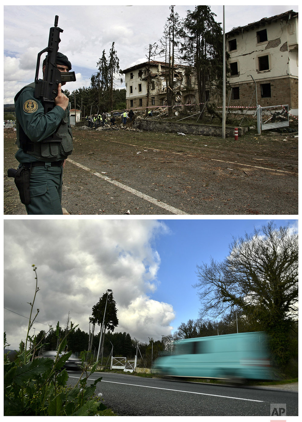 In this two photo combo, a police officer stands at the scene of a car bomb by the Basque armed separatist group ETA that exploded outside a police station in the small Basque town of Legutiano, northern Spain, killing one officer and injuring four on May 14, 2008, top, and vehicles driving past the same place on April 4, 2017. (AP Photo/Alvaro Barrientos)
