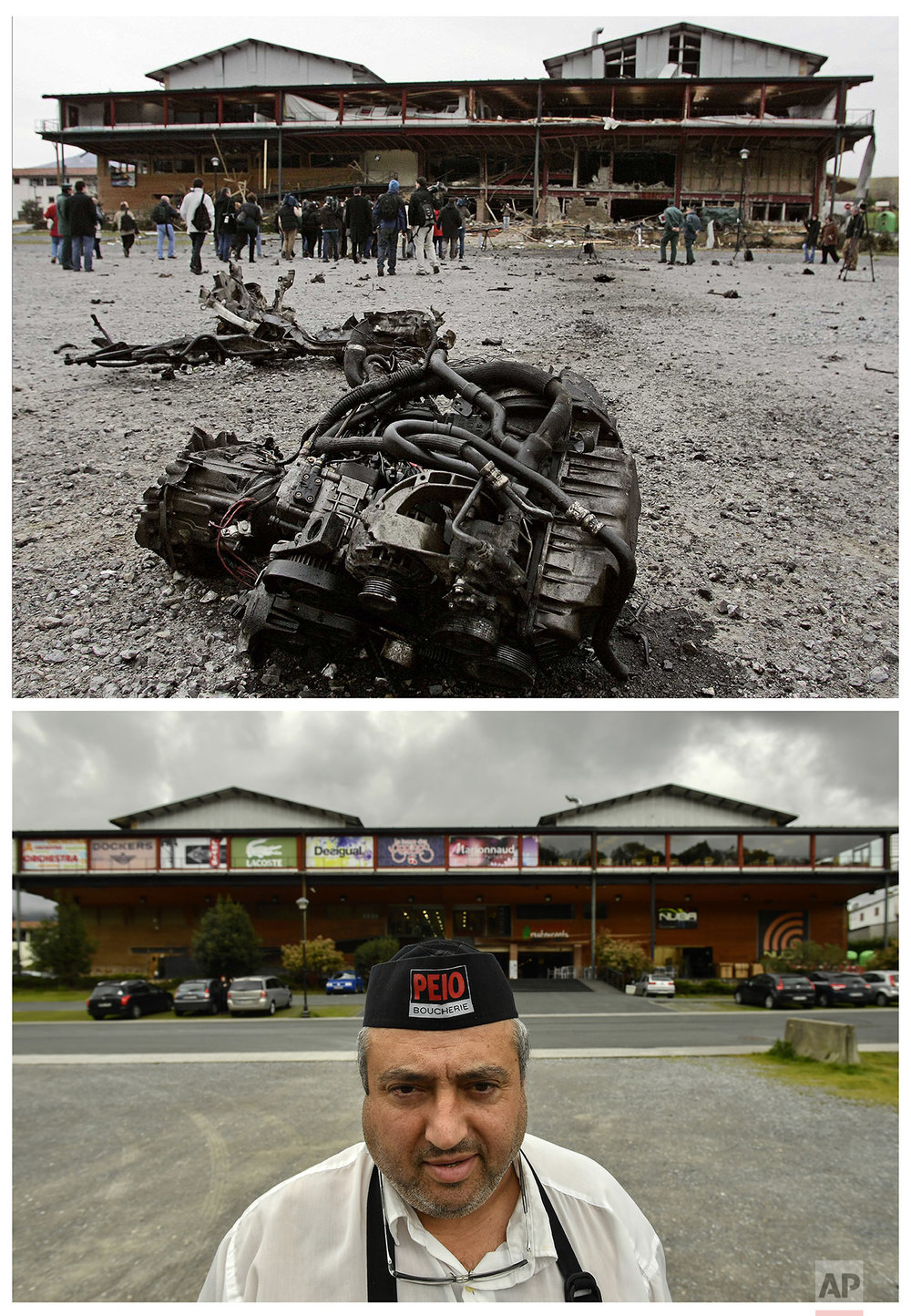 In this two photo combo, the wreckage of a car lying on the ground after a car bomb exploded destroying a shopping center, following a warning telephone call made in the name of the armed separatist group ETA in Feb. 15, 2006, in Urdax, northern Spain, near the border with France, top, and Jose Mari, 51, a worker of the shopping center destroyed by the explosion posing for photographer on April 4, 2017 at the same place. (AP Photo/Alvaro Barrientos)