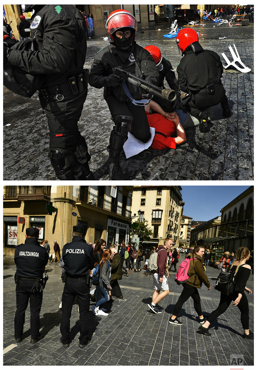 In this two photo combo, riot police detain an unidentified pro-independence Basque demonstrator, while dispersing an illegal street protest by several thousand supporters of prisoners of the Basque armed group ETA in San Sebastian, northern Spain, on Sept. 14, 2008, top, and two Basque police officers patrolling the zone as people go for a walk in the same street of the old city on April 3, 2017. (AP Photo /Alvaro Barrientos)