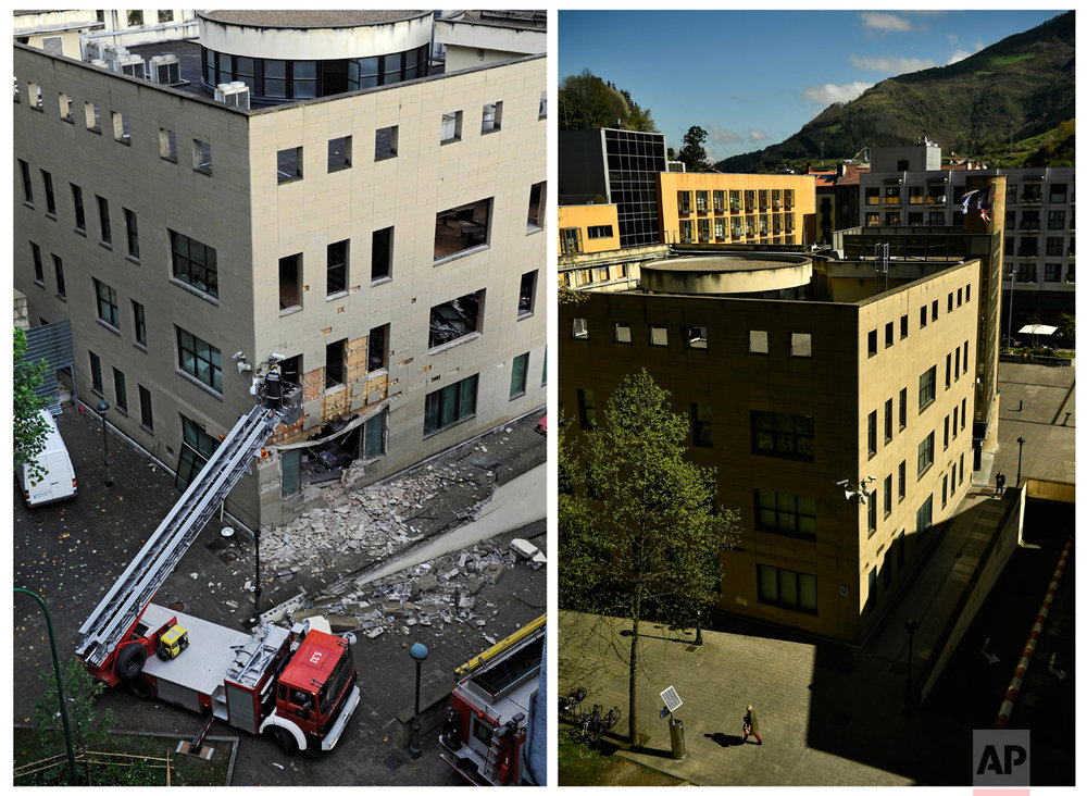 In this two photo combo, firefighters remove rubble from the Regional Court's building after an explosion of a bomb in the small Basque village of Tolosa, northern Spain on Oct. 4, 2008, left, and people walking past the same building on April 3, 2017. (AP Photo/Alvaro Barrientos)