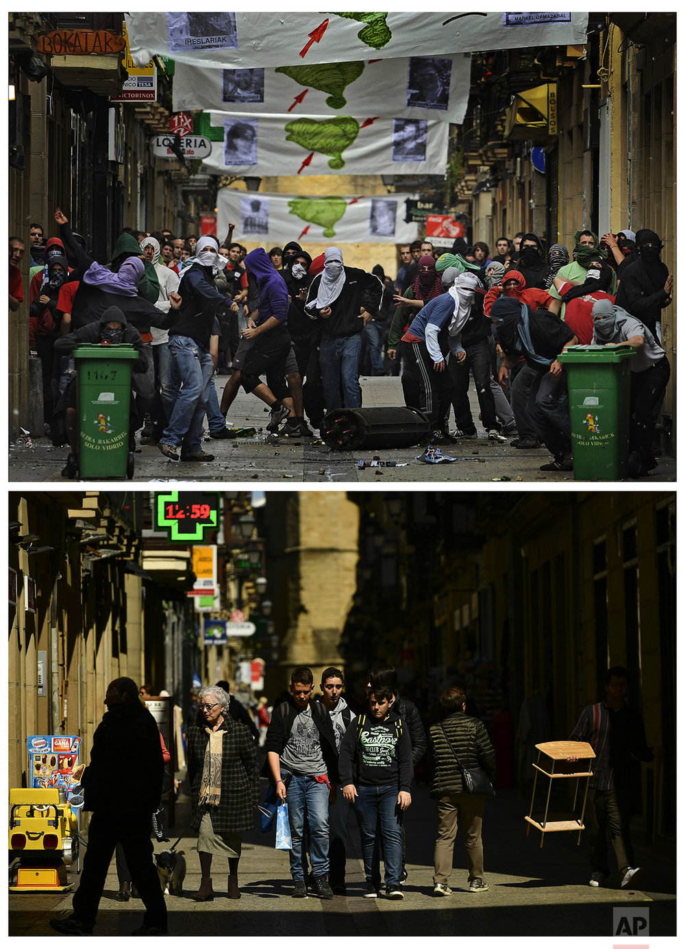 In this two photo combo, pro-independence Basque masked demonstrators throw stones and bottles against Basque riot police, who tried to disperse the illegal street protest held by several thousand supporters of prisoners of the Basque armed group ETA, in San Sebastian, northern Spain, on Sept. 14, 2008, top, and some people walking in the same street of the old city on April 3, 2017. (AP Photo /Alvaro Barrientos)