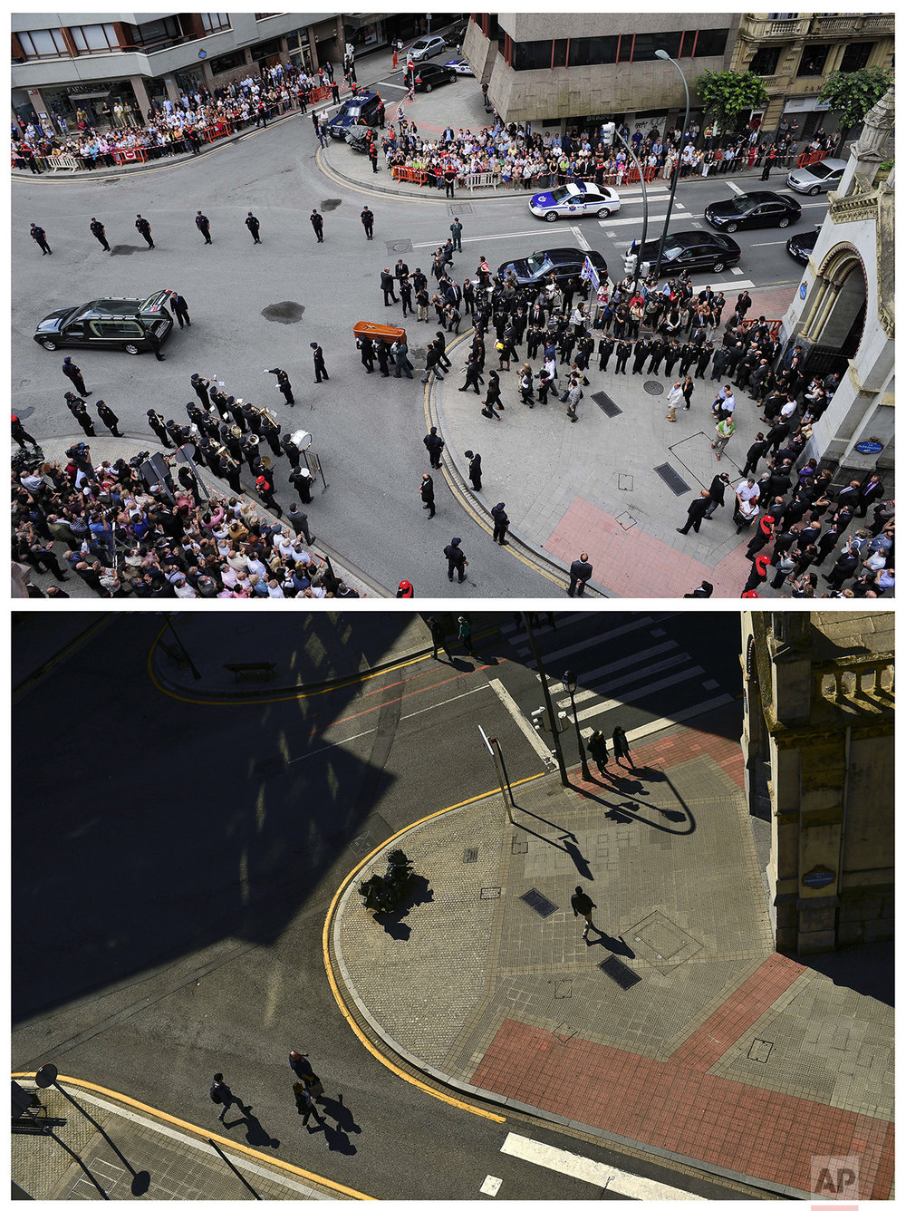 In this two photo combo, the coffin of Spanish National Police officer Eduardo Garcia Pueyes, who was killed after the explosion of a bomb on his car set off by the Basque separatist armed group ETA, is carried by his colleagues during a funeral at the San Jose Church in Bilbao, northern Spain, on June 20, 2009, top, and people walking beside the same church on April 3, 2017. (AP Photo/Alvaro Barrientos)