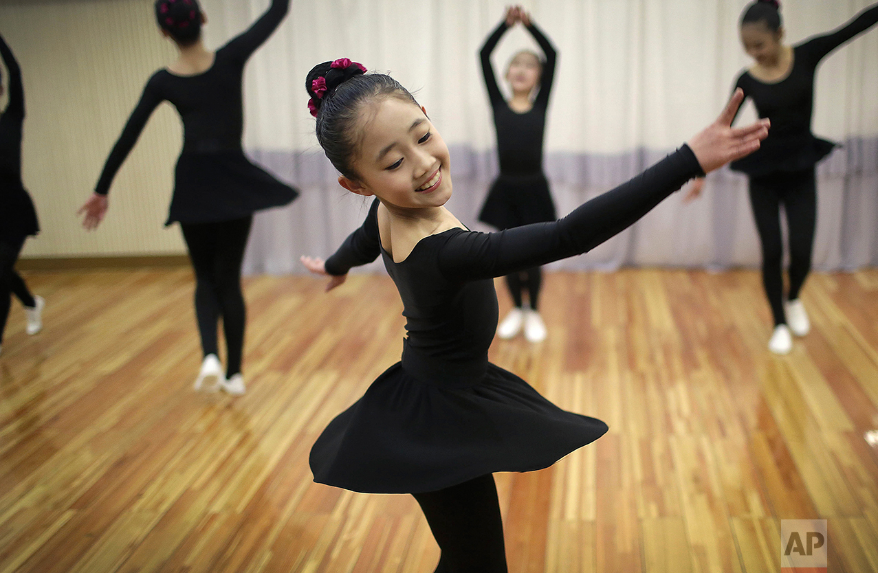 North Korean schoolgirls attend a dance class at the Mangyongdae Children's Palace on Friday, April 14, 2017, in Pyongyang, North Korea. (AP Photo/Wong Maye-E)