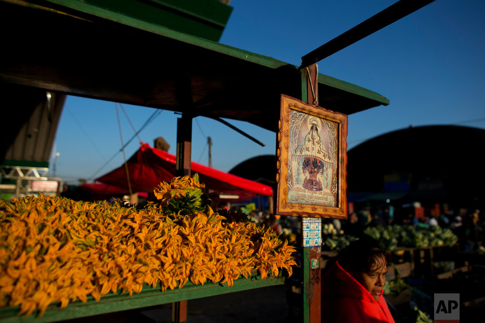In this April 12, 2017 photo, zucchini flowers grown with wastewater near Mixquiahuala are displayed for sale at the Central de Abastos, the capital's main market, in Mexico City. The edible flowers are a popular ingredient in quesadillas. During wastewater flood irrigation, bacteria can contaminate low-lying crops and later invade consumers' digestive tracts if the produce is not disinfected or cooked. The World Health Organization says risks to consumers include increased rates of cholera, typhoid, diarrhea and roundworm infections. (AP Photo/Rebecca Blackwell)