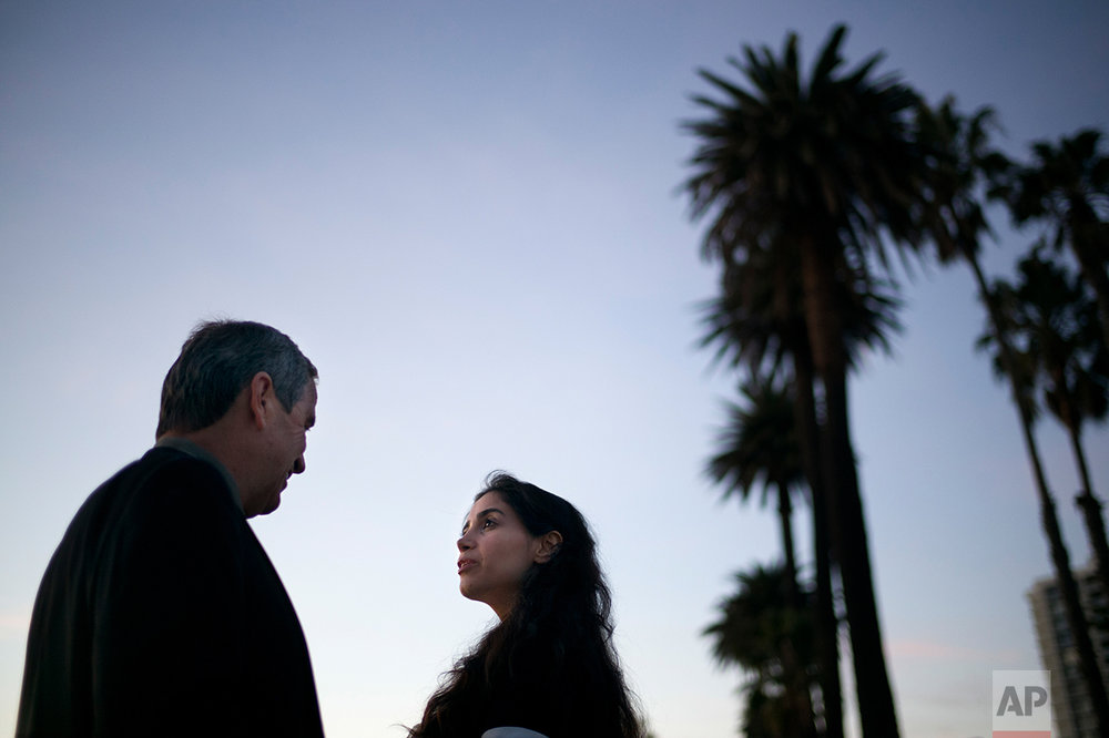 Marjan Vayghan and her father, Hossein, Santa Monica, Calif. (AP Photo/Jae C. Hong)