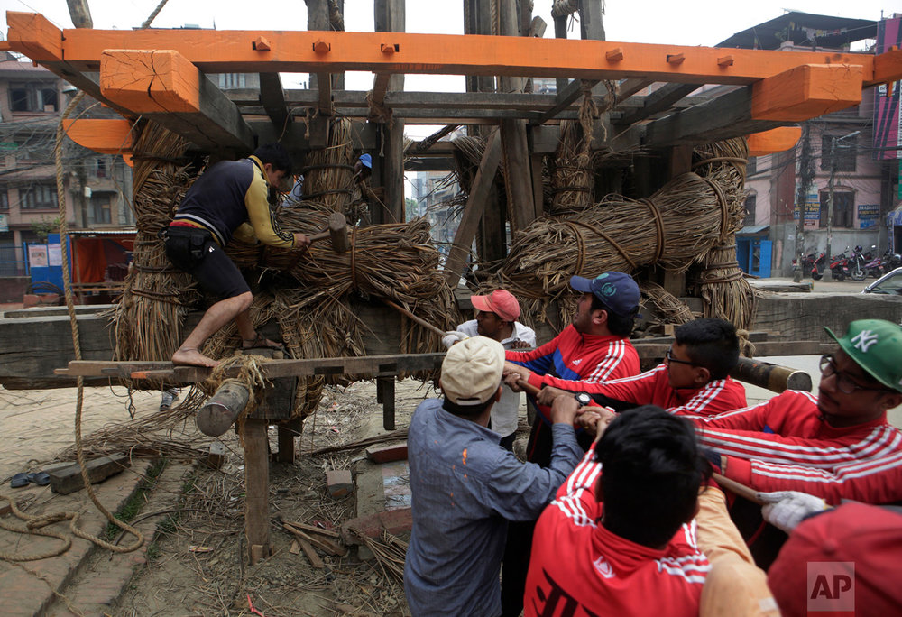 In this April 19, 2017, photo, members of the Yanwal community tie bundles of cane together in the construction of the Rato Machindranath Chariot in Lalitpur, Nepal. The wooden chariot is built to appease the gods in hopes of being blessed with good rainfall followed by a bountiful harvest. The chariot built every year is 15-meter (48-foot) tall and based on a chassis that is only wide as a small truck. The Yanwals have the task of tying the tower of logs together with truck-loads of cane. (AP Photo/Niranjan Shrestha)