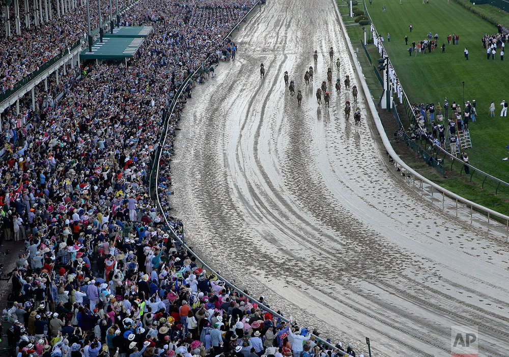 John Velazquez rides Always Dreaming to victory in the 143rd running of the Kentucky Derby horse race at Churchill Downs Saturday, May 6, 2017, in Louisville, Ky. (AP Photo/Charlie Riedel)