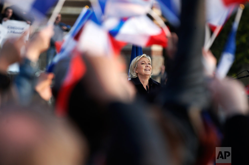 French far-right leader and presidential candidate Marine Le Pen addresses people in Ennemain, northern France, Thursday, May 4, 2017. (AP Photo/Thibault Camus)
