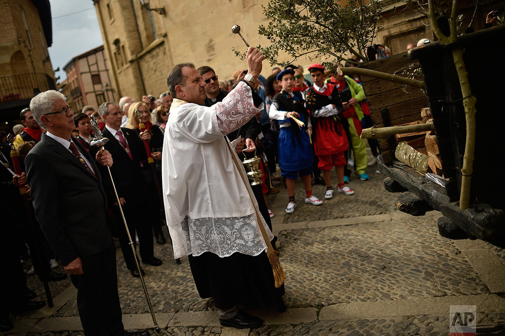 A priest blessing branchs of holm oak during the ''Bunch Procession'' in the ceremony in honor of Domingo de La Calzada Saint (1019-1109), who helped poor people and pilgrims, in Santo Domingo de La Calzada, northern Spain, Wednesday, May 10, 2017.  (AP Photo/Alvaro Barrientos)