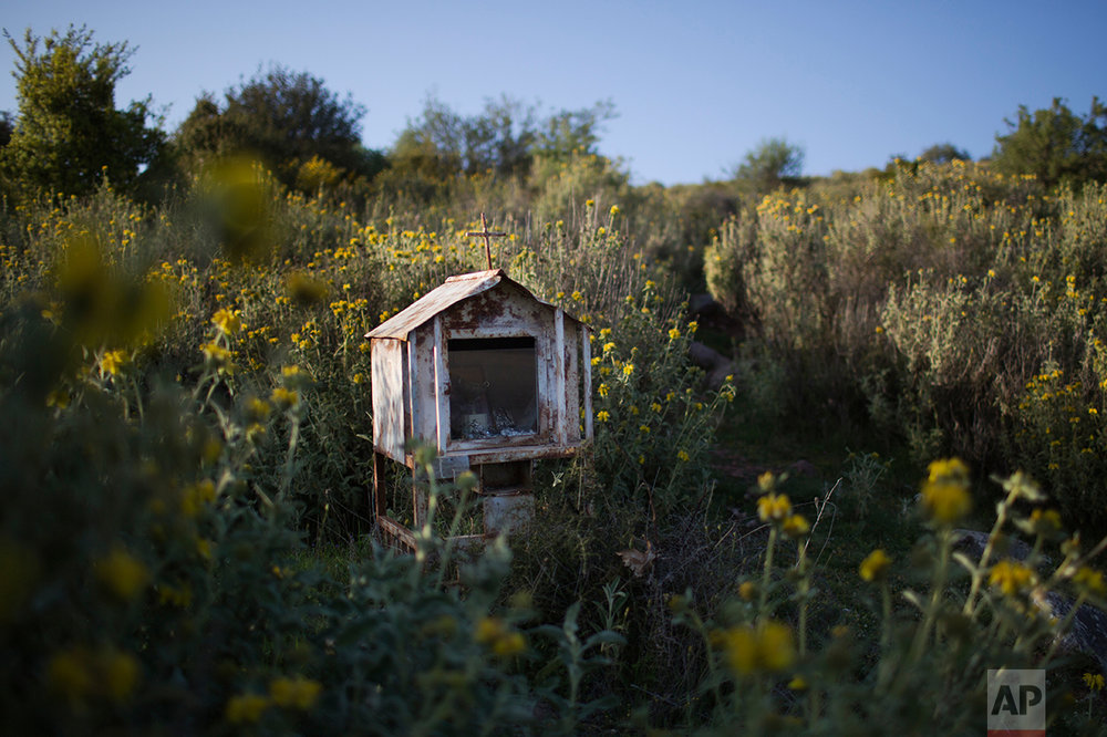 In this photo taken on Wednesday, April 26, 2017, an iron roadside shrine stands in a field near the village of Antroni, in the Peloponnese region of southern Greece. (AP Photo/Petros Giannakouris)