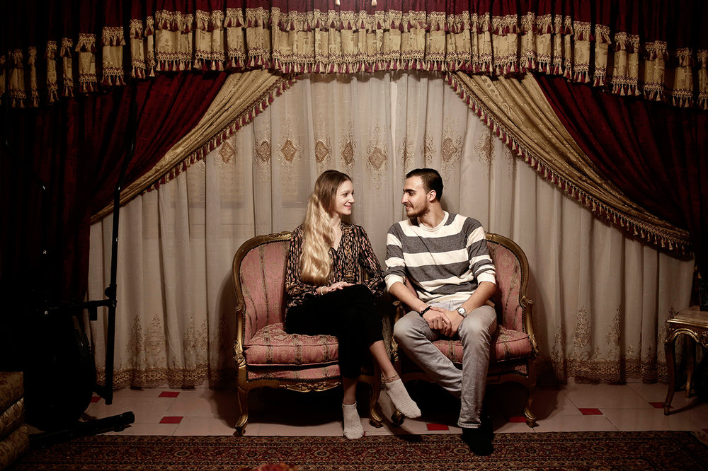 In this April 15, 2017 photo, ballet dancer Fady el-Nabarawy, right, and his Serbian fiancee, ballerina Kristina Lazovic, pose for a photograph at his home on the top floor of a six-story walk-up in the Omraniyah district of Cairo, Egypt. (AP Photo/Nariman El-Mofty)