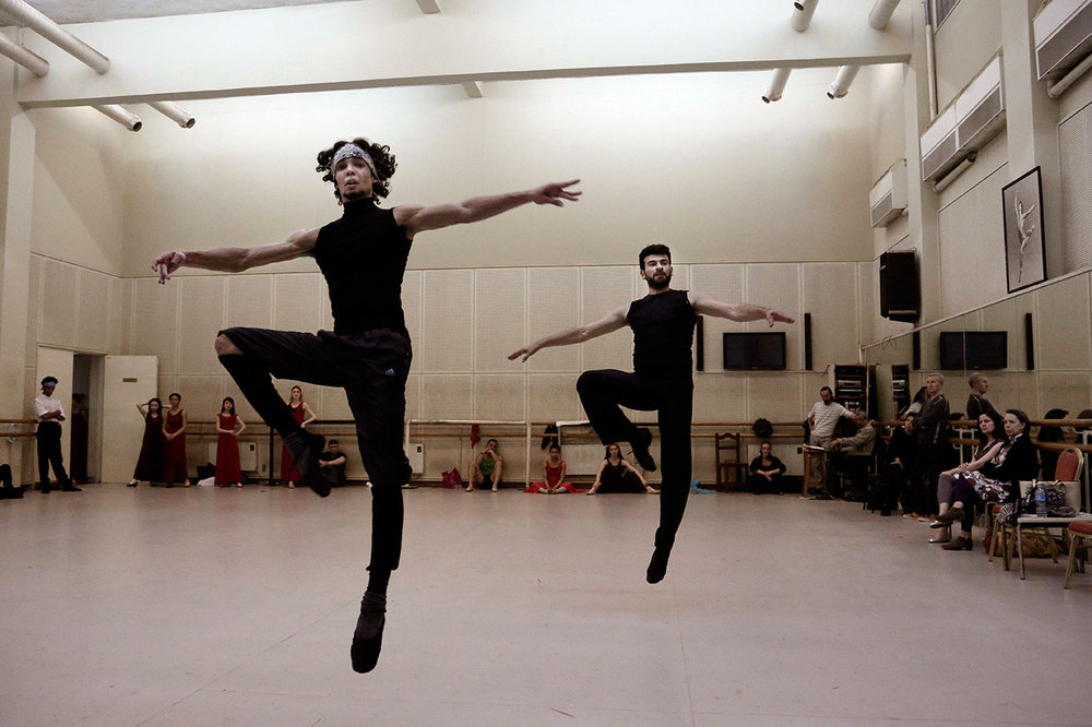 In this March 23, 2017 photo, Ahmed Nabil, left, Hani Hassan, practice during a rehearsal, in the Cairo Opera House, Egypt. (AP Photo/Nariman El-Mofty)