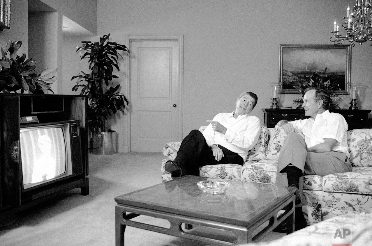 President Ronald Reagan And Vice George H Bush Sit In The Anatole Hotel At