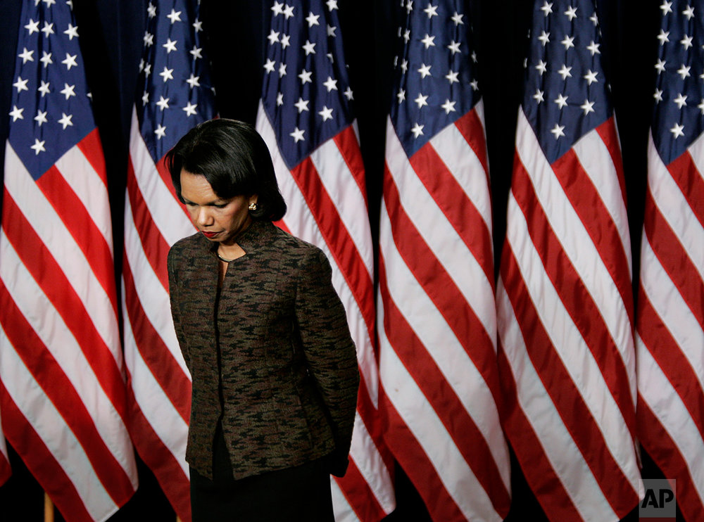Secretary of State Condoleezza Rice takes questions from reporters about the details of President Bush's Iraq strategy during a news conference in the Eisenhower Executive Office Building adjacent to the White House in Washington, Thursday, Jan. 11, 2007.   (AP Photo/J. Scott Applewhite)