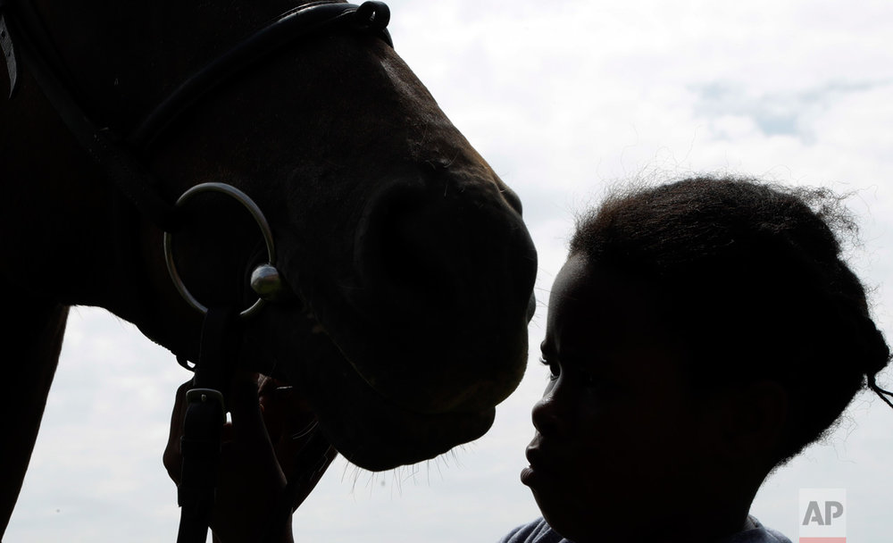 In this Saturday, March 4, 2017 photo, 12 year-old girl Omphile Mashile prepares a horse at the Soweto Equestrian Centre in Johannesburg, South Africa. (AP Photo/Themba Hadebe)