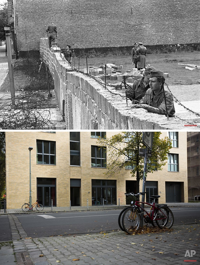The combo shows East-German policemen in work dress as they remove barbed wire from a brick wall while other policemen in background are raising the wall to 15 feet at the border between the French and Russian sector at Bernauer Strasse in Berlin on Sept. 9, 1961 and the line the of former Berlin Wall in the pavement at Bernauer Strasse in Berlin on Oct. 21, 2014 - 25 years after the fall of the wall. (AP Photo/Markus Schreiber)