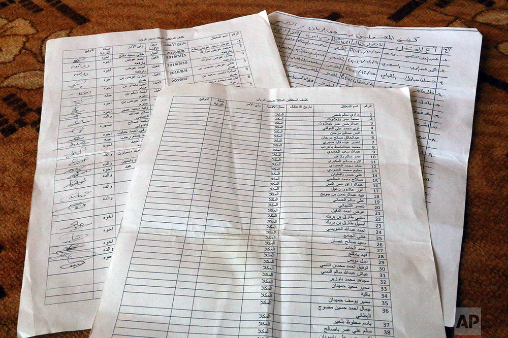 Families show lists of loved ones they believe are being held at a secret prison.