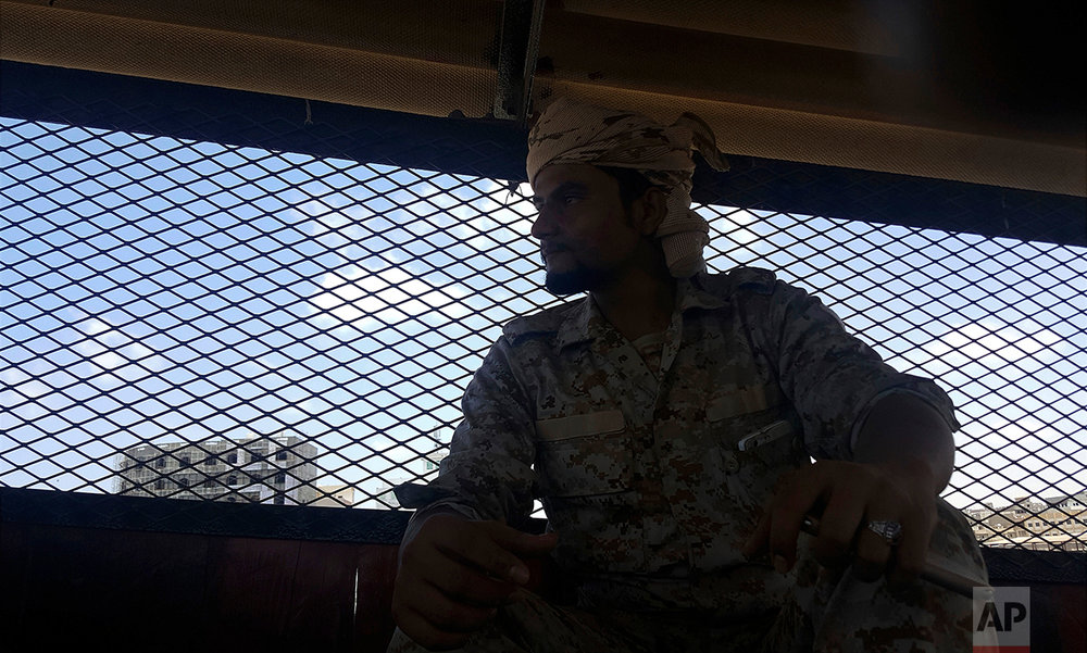 Naquib al-Yahri, the chief of Aden Central Prison, sits in the facility.