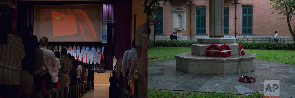 In this combination of photos, left: Participants stand for China's national anthem at a Hong Kong school meeting highlighting achievements of students who visited the mainland on exchange programs, Tuesday, June 6, 2017; and right: Wreaths mourning soldiers who died during first and second World Wars are placed outside St. John Cathedral in Hong Kong, Monday, June 12, 2017. (AP Photo/Kin Cheung)
