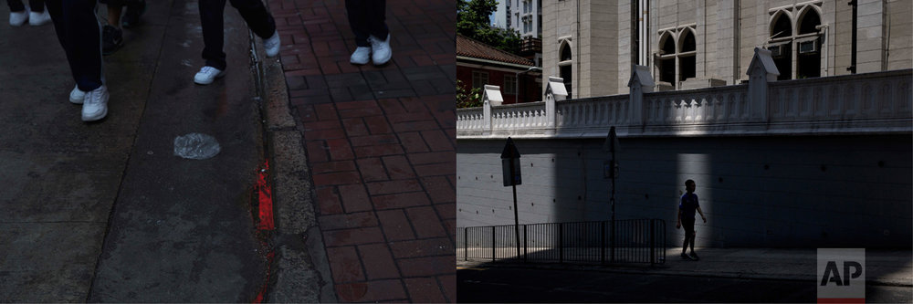 In this combination of photos, left: Red neon light is reflected in a puddle in Hong Kong, Friday, June 2, 2017; and right: A man is silhouetted in a sliver of light as he walks in front of the Tsung Tsin Mission of Hong Kong Kau Yan Church which was built in colonial style, Monday, May 29, 2017. (AP Photo/Kin Cheung)